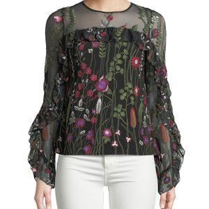 Red Carter Brianne Embroidered Floral Top Black S